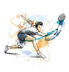 Colored hand sketch man playing badminton vector image vector image