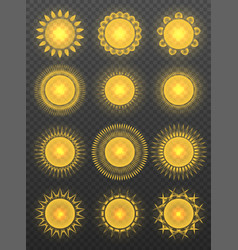 set of various transparent suns vector image vector image
