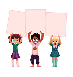 three kids holding blank empty posters boards vector image