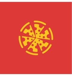Yellow Pizza flat abstract logo sign design vector image