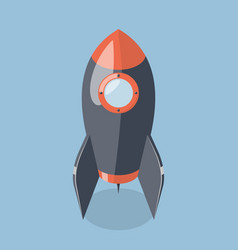 3d rocket spaceship isolated on blue background vector image