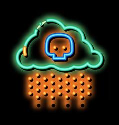 Acid rain earth problem neon glow icon vector