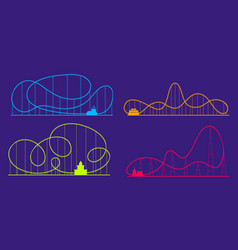 Amusement park roller coaster color silhouettes vector