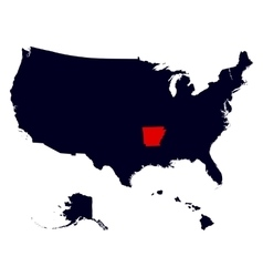 Arkansas State in the United States map vector image