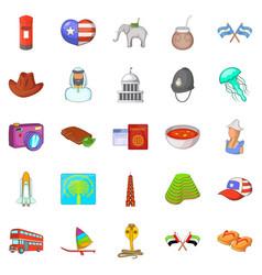 around the world icons set cartoon style vector image
