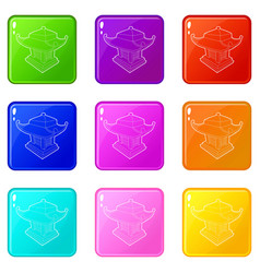 asian pagoda icons set 9 color collection vector image