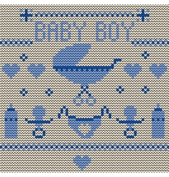 Baby Boy Knitted Background vector