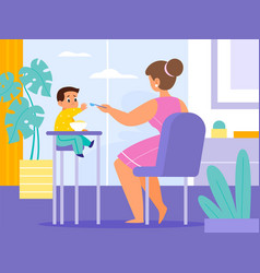 Baby feeding room mom gives food toddler vector