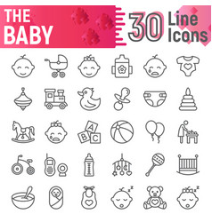 baby line icon set child symbols collection vector image