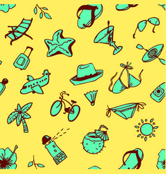background with summer and beach objects doodle vector image