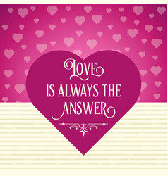 beautiful love card with hearts vector image