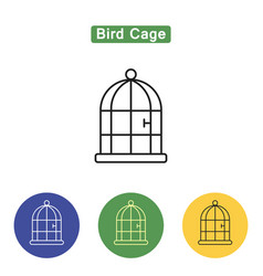 Bird cage line icon vector