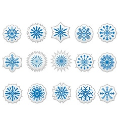 blue snowflakes icons stickers labels set vector image