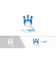 bowling and loupe logo combination game vector image