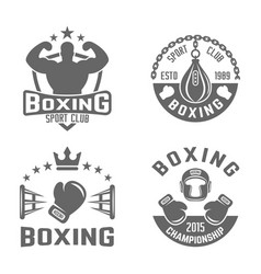 Boxing and martial arts black labels vector