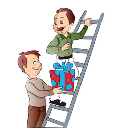 boy giving gift to his father climbing ladder vector image