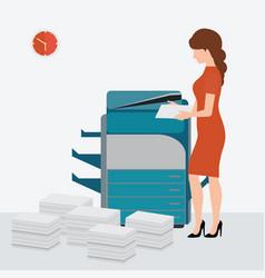 business woman using copy print machine vector image