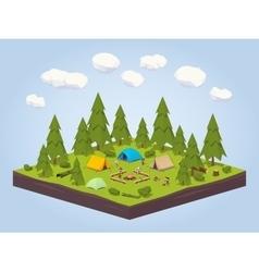 Campsite in the woods vector
