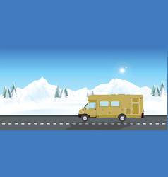 caravan car vacation in winter holiday trip vector image