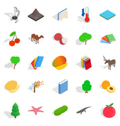 Care of flora icons set isometric style vector