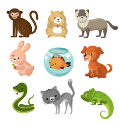 Cartoon cute home pets collection vector