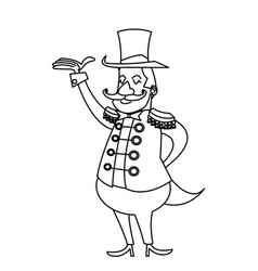 Cartoon host man circus festival vector