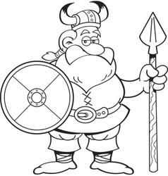 Cartoon viking holding a spear and a shield vector image