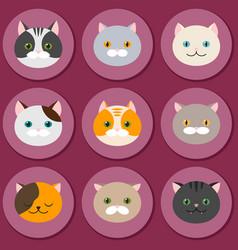 cat set of flat feline head icons vector image