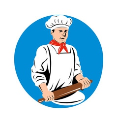 Chef cook baker holding kneading rolling pin vector