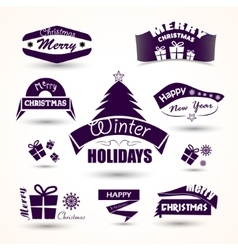 Christmas and new year set of icons tree gift vector image