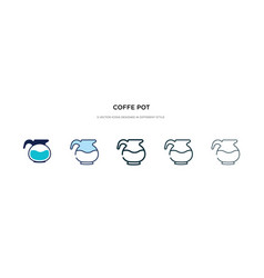 Coffe pot icon in different style two colored vector