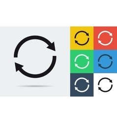 Colored and monochrome two rounded arrows icon vector