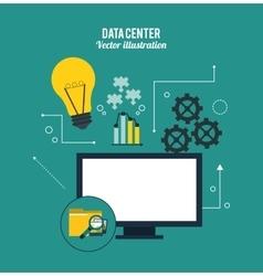 Computer and icon set Data center design vector