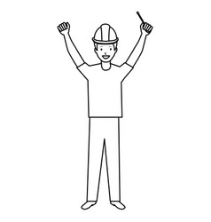 construction worker with screwdriver avatar vector image