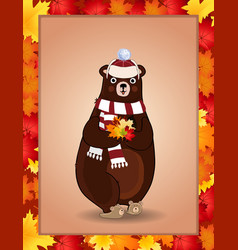 cute bear in white knitted scarf and hat holding vector image