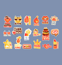 cute cartoon set stickers with short positive vector image
