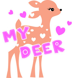 cute deer fawn cartoon isolated on vector image
