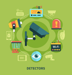 detectors home security round composition vector image