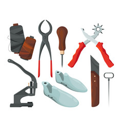 different tools for shoe repair pictures vector image