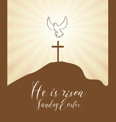 Easter banner with cross and glowing dove vector