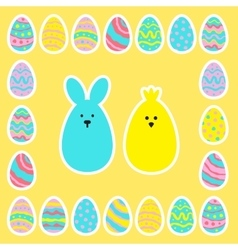 Easter eggs icon set in flat style vector