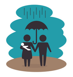 family members under the rain silhouette vector image