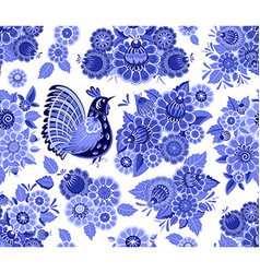 fancy seamless texture with blue stylized floral vector image