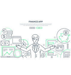 finance app - colorful line design style vector image
