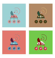 Flat icon design collection spacecraft and vector