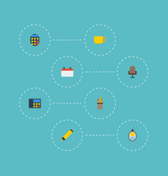 flat icons phone tea armchair and other vector image