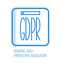 gdpr line icon - general data protection vector image