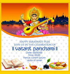 Goddess of wisdom saraswati for vasant panchami vector