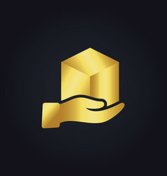 Gold gift box hand logo vector