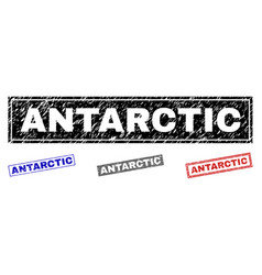 grunge antarctic scratched rectangle stamps vector image